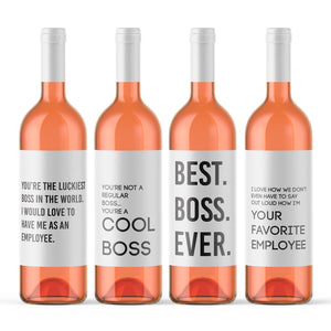 4 Pack Boss Boss Gift Wine Bottle Labels I Love How We Don't Even Have To Say Out Loud How I'm Your Favorite Employee Best Boss Ever 9146