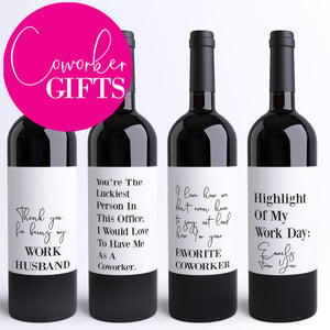 8 Funny Coworker Gifts Coworker Wine Bottle Labels Colleague Card Alternative Printed Peel & Stick Wine Stickers Office Rude Humor Gift 9198
