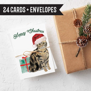Meowy Christmas Cat Christmas Cards - 24 Pack