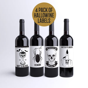 Halloween Party Wine Labels - 4 Pack