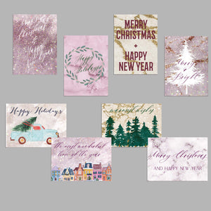 Rose Gold Marble Christmas Cards - 24 Pack