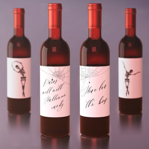 Halloween Party Wine Bottle Labels - 4 Halloween Party Decor Stickers Dancing Skeletons Here For Boos Pairs Well With Halloween Candy 9278