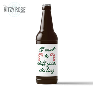 Naughty Christmas Beer Labels for Her - 6 Pack