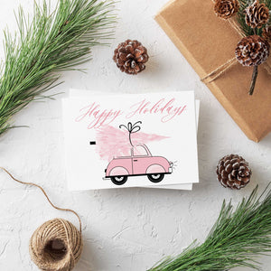 Girly Pink Holiday Christmas Cards - 24 Pack