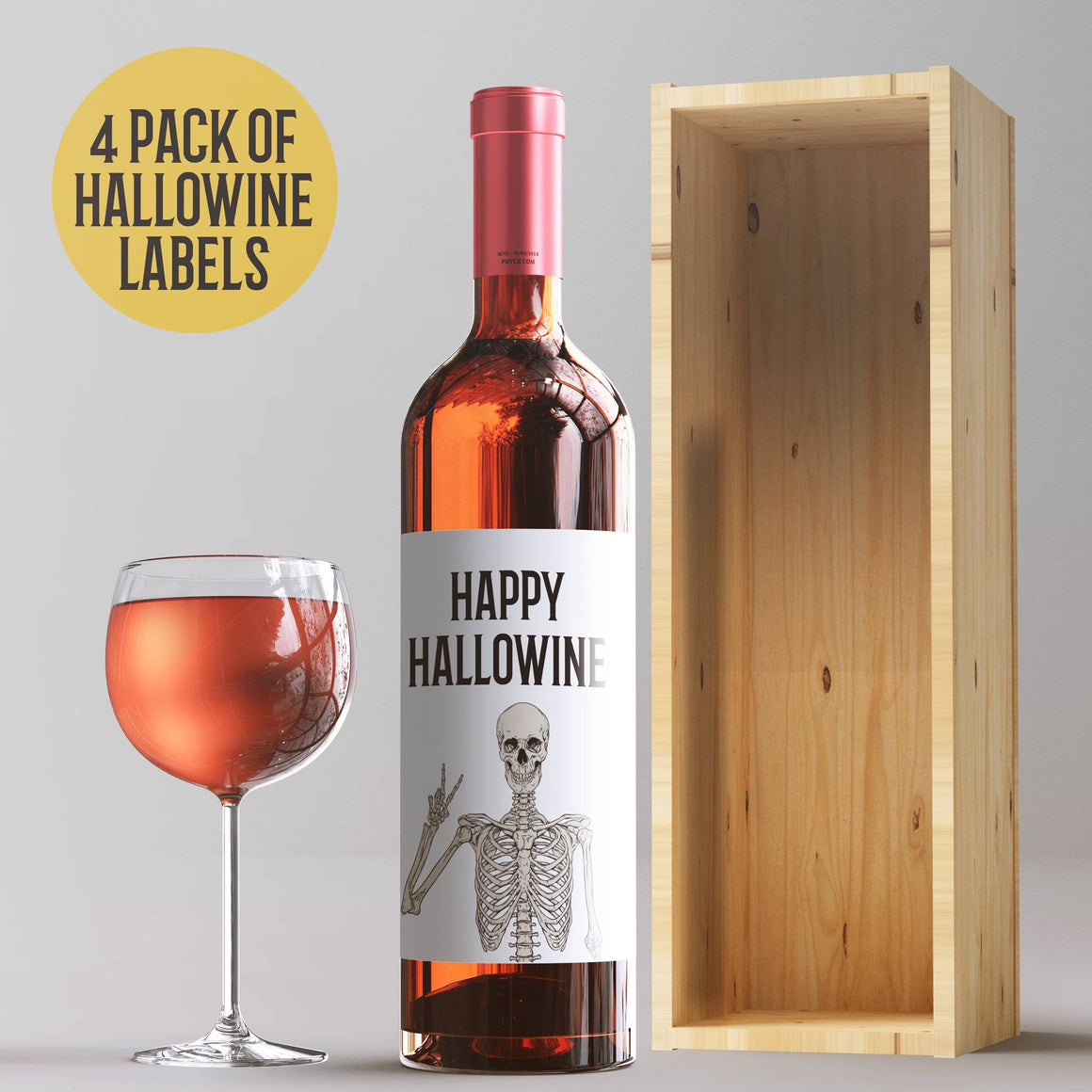 Hallowine Halloween Party Wine Labels - 4 Halloween Party Decor Stickers Happy Hallowine Trick or Treat Party Ideas Wine Bottle Sticker 9279