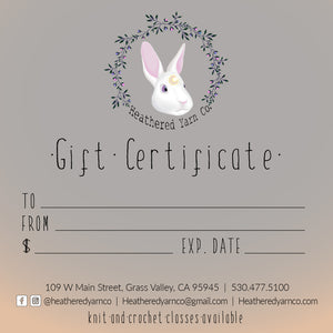 Heathered Yarn Co Gift Certificate $25.00