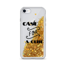 "Load image into Gallery viewer, Liquid Glitter Phone Case ""CASE FOR A CURE"""