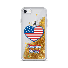 "Load image into Gallery viewer, Liquid Glitter Phone Case ""America Strong"""