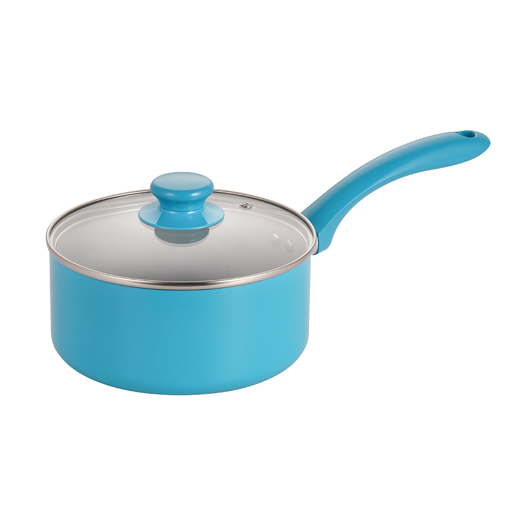 Mirazur 7'' Ceramic Non-stick Saucepan with Tempered Glass Lid Small Pot with Lid 2QT Dishwasher Safe Blue
