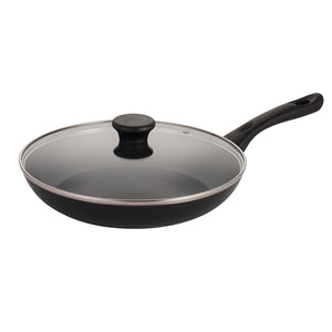 Mirazur Non-stick Skillet Aluminium 11'' CVD Frying Pan with Tempered Glass Lid Dishwasher Safe Black