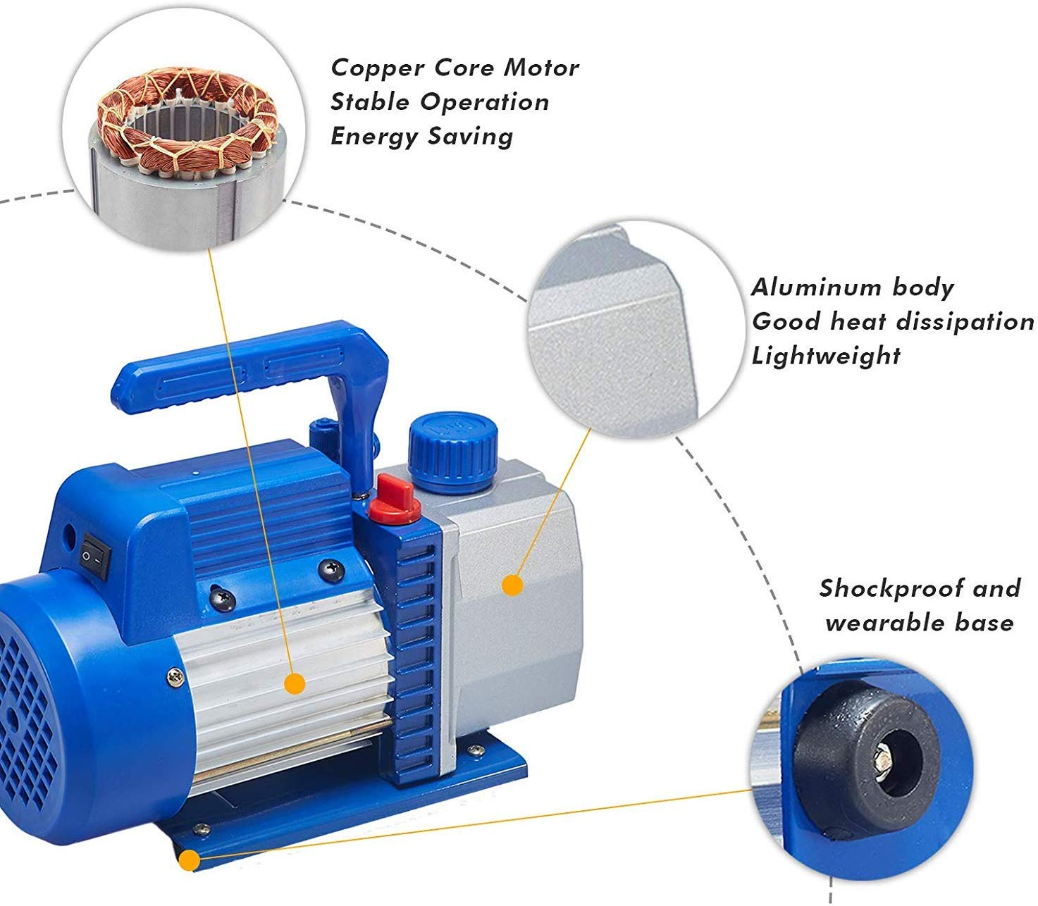 "3.0 CFM Single-Stage 5 Pa Rotary Vane Economy Vacuum Pump for HVAC, Air Conditioner Refrigerant,Food Packaging,Milking, 1/4"" Flare Inlet Port, Blue"