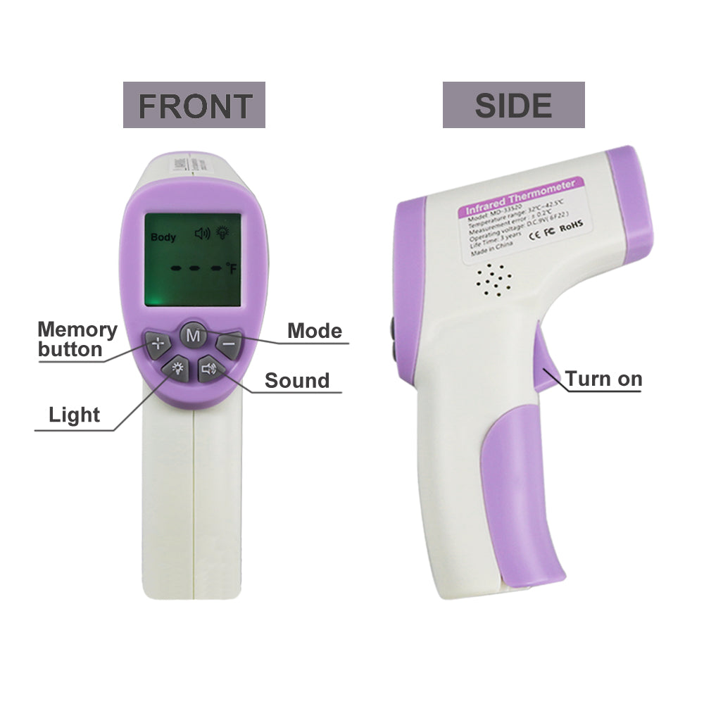 Infrared Forehead Thermometer Medical Digital Non-Contact Accurate Gun for Humans Adults and Baby