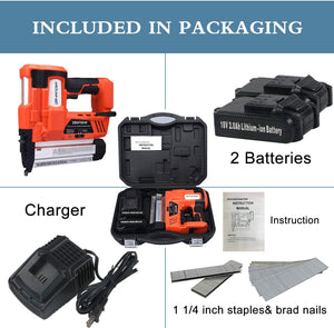 Cordless Brad Nailer &Stapler, 2 in 1 18Ga Heavy Finish Nail Gun With 18Volt 2Ah Lithium-ion Rechargeable Battery