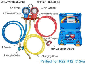 4CFM 1/3HP Air Vacuum Pump HVAC A/C Refrigeration Tool Kit AC with Leak Detector, Auto Repair Equipment, Manifold Gauge Set(R134A R22), 3 Hoses, Ideal for Food Packaging,Milking,Medical et