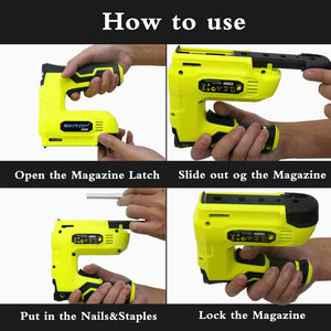 Cordless Staple Gun, 4V Power Brad Nailer/Staple Nailer,Electric Staple with Rechargeable USB Charger