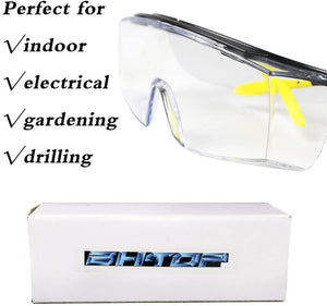 Safety Glasses Protective Eye Wear L010 Clear Lens Anti-Fog Goggles, Over-Spec Glasses in Yellow