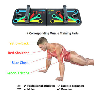 Push Up Board Multifunctional Body Building Exercise Tool Foldable & Portable Board System Color Coded Push-up Stands With Traction Rope Whole Body Workout Home Fitness Training For Men & Women