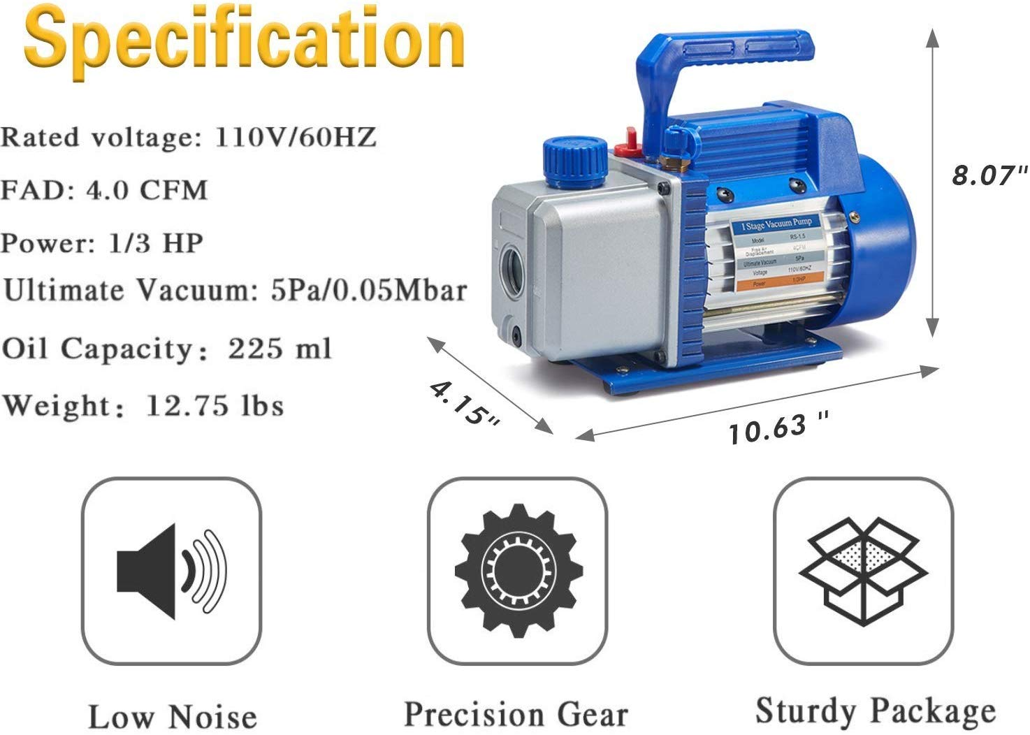 "4.0 CFM Single-Stage 5 Pa Rotary Vane Economy Vacuum Pump for HVAC, Air Conditioner Refrigerant,Food Packaging,Milking, 1/4"" Flare Inlet Port, Blue"