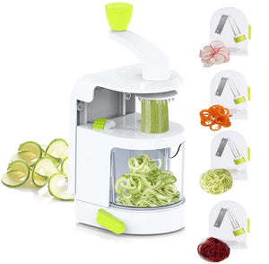 4-in-1 Rotating Blades Spiral Vegetable Noodle Maker Vertical Zucchini Spaghetti Maker Zoodle Spiralizer Mandoline Slicer for Low Carb Paleo Gluten-Free Meals