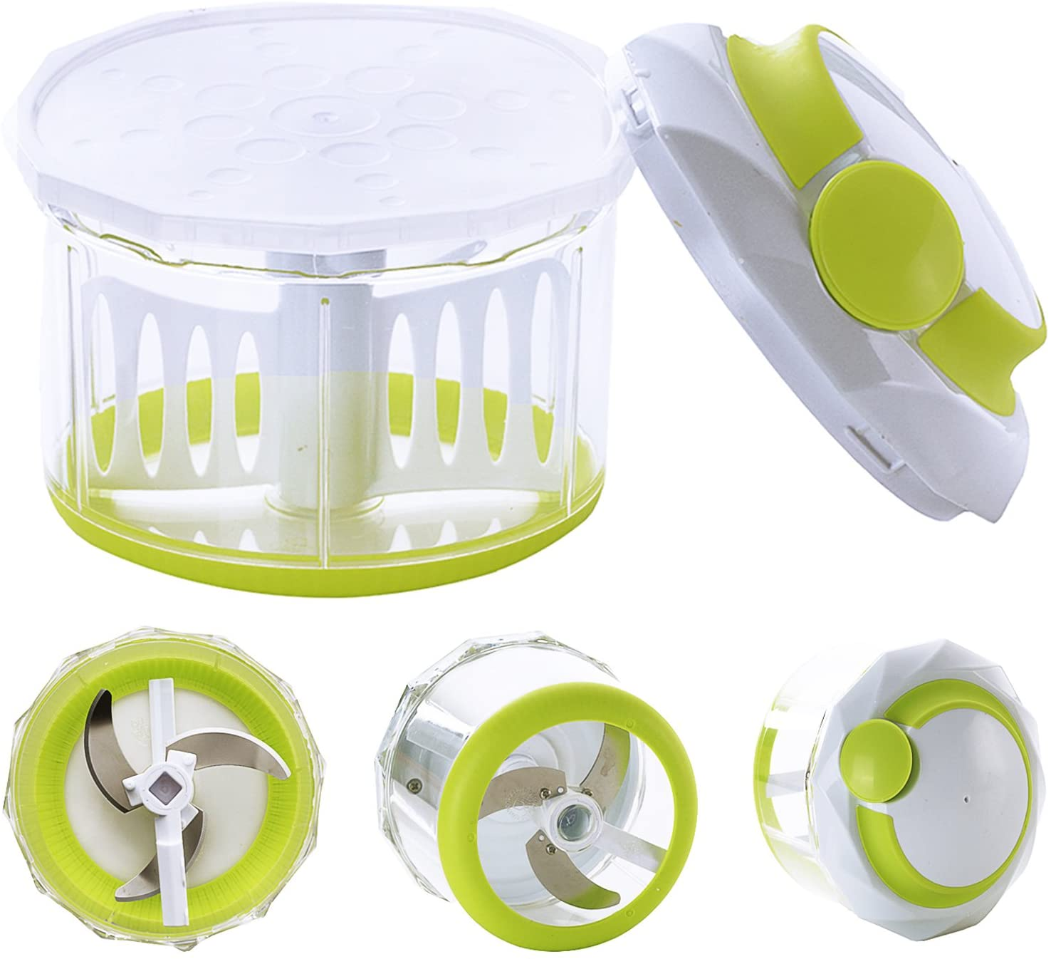 Pull Food Chopper with Mincer Chopper Blades&Plastic Mixer Blender(4 Cup) Manual Food Processor to Chop Vegetable Fruit Meat Nut Onion Carrot Garlic Potato for Salad