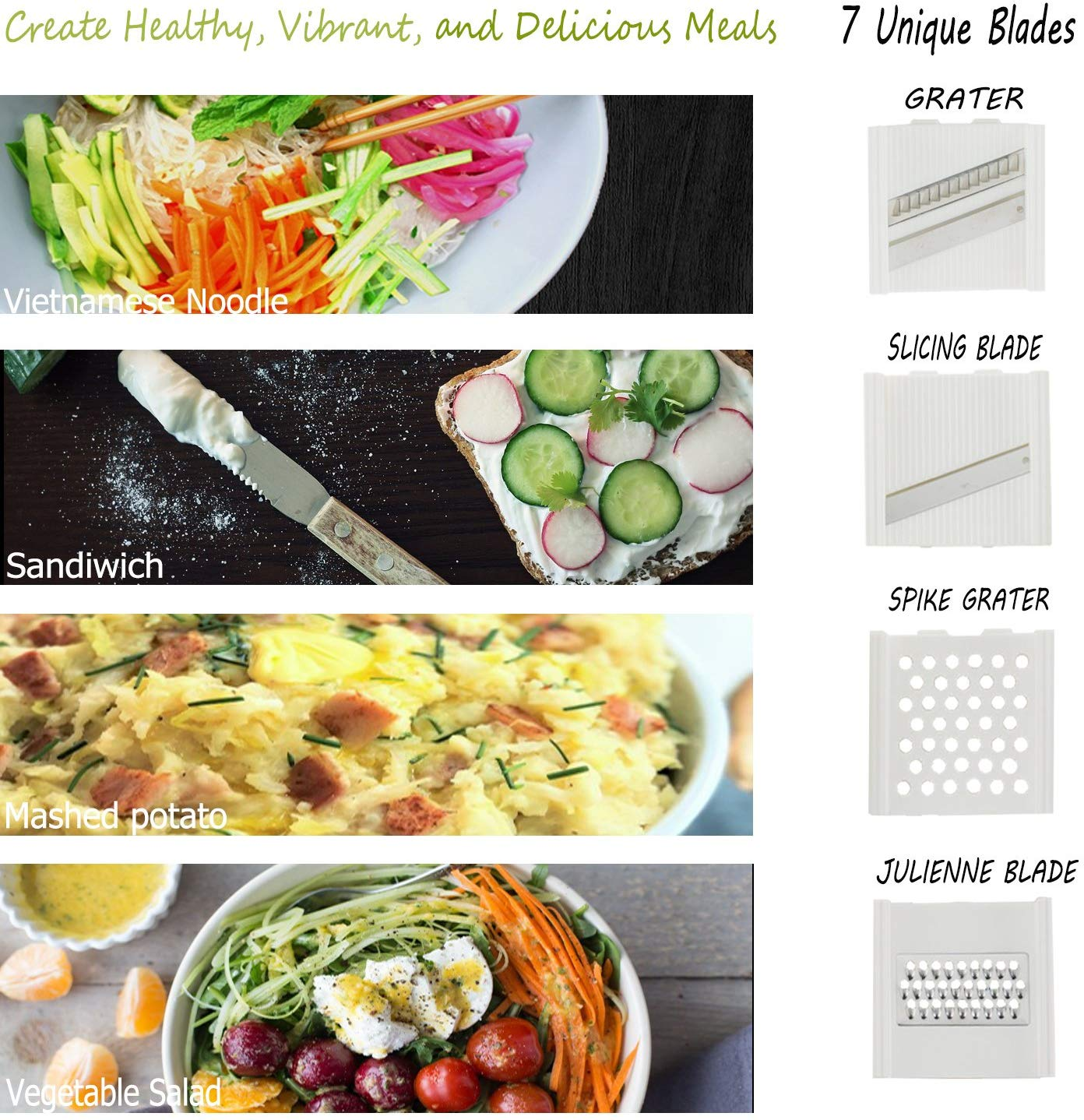Manual Vegetable Slicer Dicer Onion Chopper 7 in 1 Hand-Powered Grater Cutter Set for Fruit Cucumber Carrot Potato with 7 Stainless Steel Blades Hand Protector and Cleaning Tool