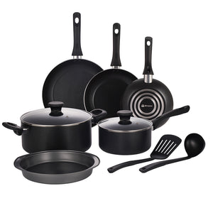 Mirazur Non-stick Cookware Set Aluminium 10 Piece Pots and Pans Set with Bakelite Handles Dishwasher Safe Black
