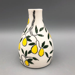 Vase (medium bud vase) - Lemon design on porcelain