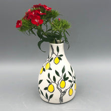 Load image into Gallery viewer, Vase (medium bud vase) - Lemon design on porcelain