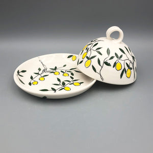 Butter/cheese dish - Lemon design on porcelain