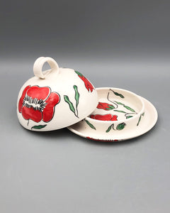 Butter/cheese dish - Red poppy design on porcelain