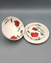 Load image into Gallery viewer, Butter/cheese dish - Red poppy design on porcelain