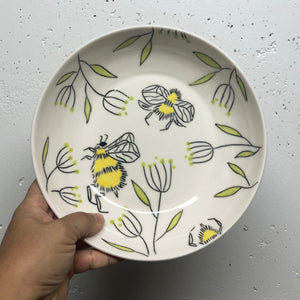 Bowl (16oz coupe) - Bee design on handmade porcelain bowl