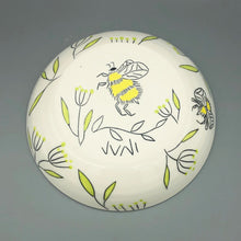 Load image into Gallery viewer, Bowl (16oz coupe) - Bee design on handmade porcelain bowl