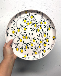 "Plate (medium/dinner 11"") - Lemon design on porcelain"