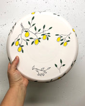 "Load image into Gallery viewer, Plate (medium/dinner 11"") - Lemon design on porcelain"