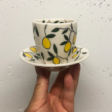 Load image into Gallery viewer, Espresso/cortado cup (4oz) - Lemon design on porcelain