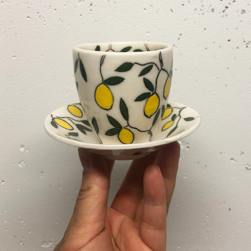Espresso/cortado cup (4oz) - Lemon design on porcelain