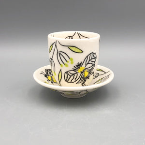 Espresso/cortado cup (4oz) - Bee design on porcelain