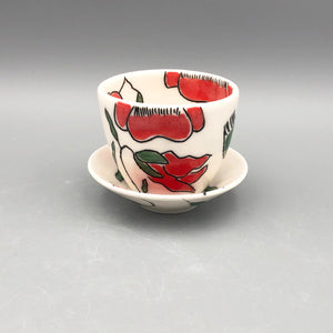 Espresso/cortado cup (4oz) - Red poppy design on porcelain