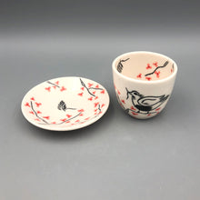 Load image into Gallery viewer, Espresso/cortado cup (4oz) - Mama bird in a cherry tree design on porcelain
