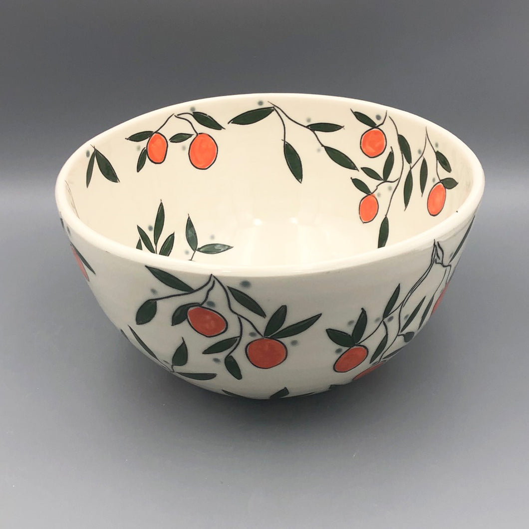 Bowl (large/centerpiece) - Orange design on porcelain