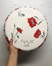 "Load image into Gallery viewer, Plate (large/serving platter 15"") - Red poppy design on porcelain"