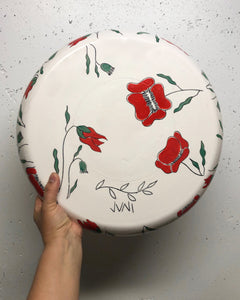 "Plate (large/serving platter 15"") - Red poppy design on porcelain"
