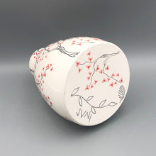 Load image into Gallery viewer, Vase or centerpiece (extra large) - Mama bird and cherry blossom tree design on porcelain