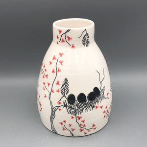 Vase or centerpiece (extra large) - Mama bird and cherry blossom tree design on porcelain