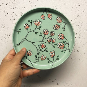 "Plate (small 8"") - Magnolia design on stained porcelain"