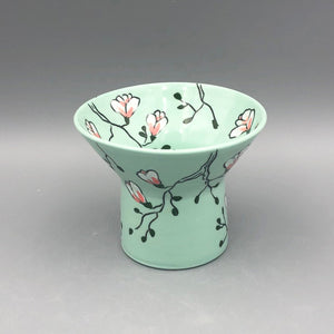 Vase (small and wide) - Magnolia design on stained green porcelain