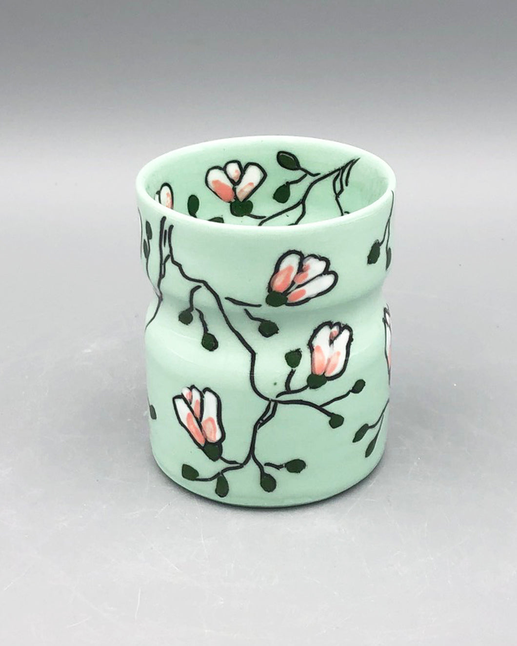 Wine tumbler (5oz) - Magnolia design on green porcelain