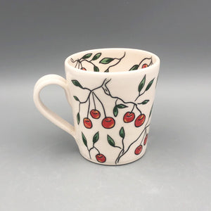 Mug (12oz) - Cherry design on porcelain