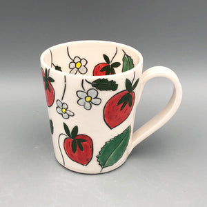 Mug (12oz) - Strawberry design on porcelain